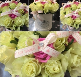 Luxury Pink and White Rose Hatbox